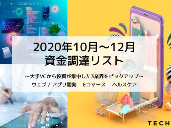 Eコマースにアプリ開発、ヘルスケア… 2020年10〜12月資金調達スタートアップ64社【無料】
