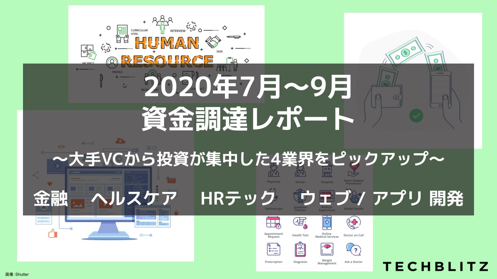 ヘルスケア、HRテックの調達件数が増加 2020年7〜9月資金調達スタートアップ77社【無料レポート】