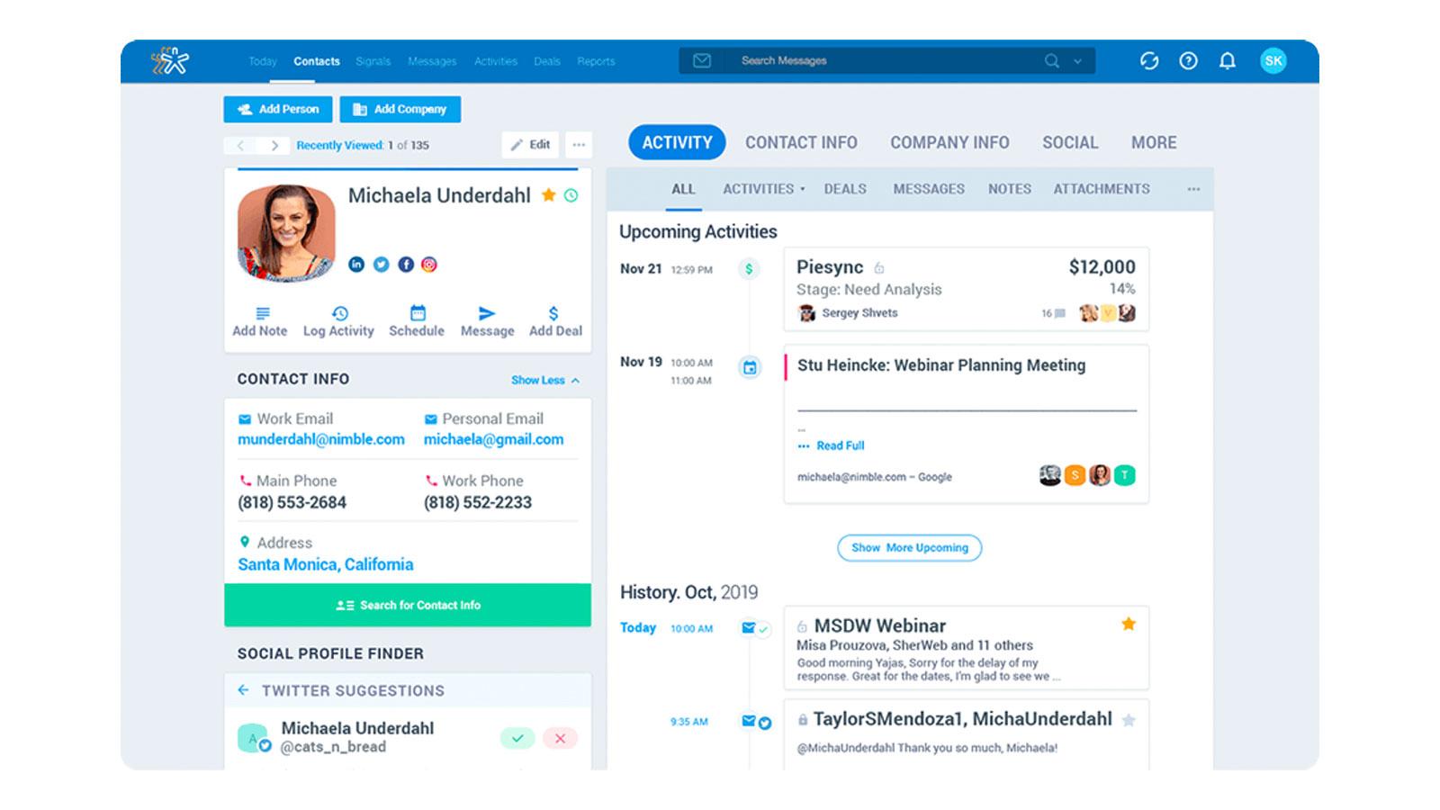 SNS、メール、カレンダーとビジネスソフトを自動的に統合するCRMプラットフォームNimble